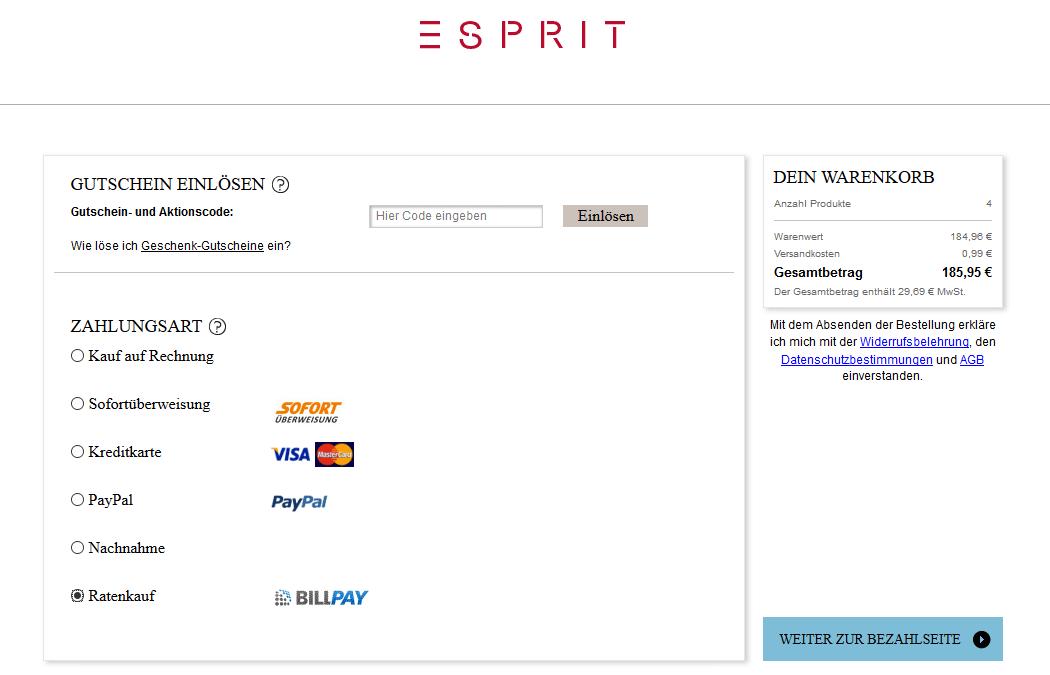 Zahlung mit BillPay bei Esprit