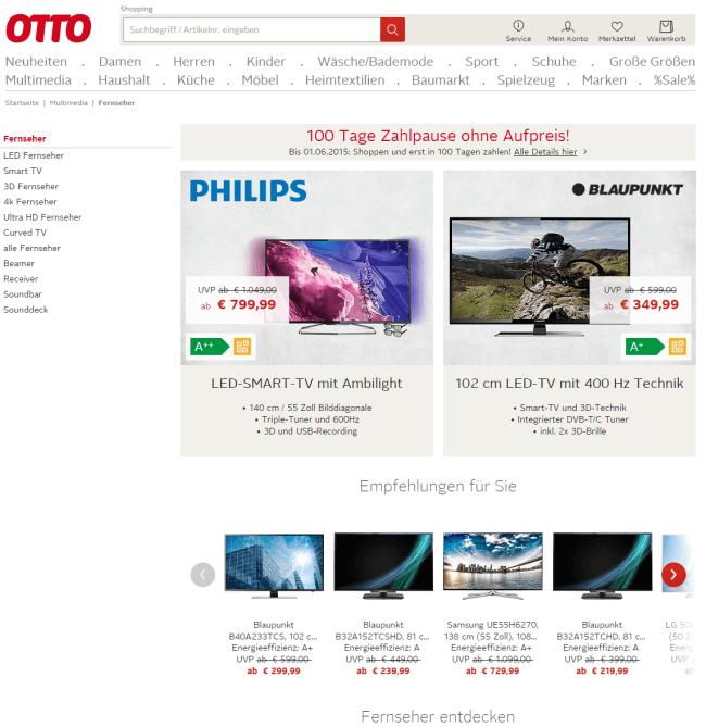 Smart TV Fernseher Bei OTTO Mit Ratenzahlung